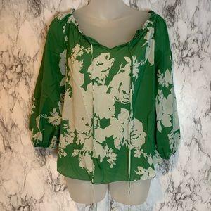 Alice + Olivia Silk Green Floral Blouse Print